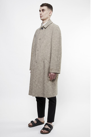 acne william tweed coat rustic beige